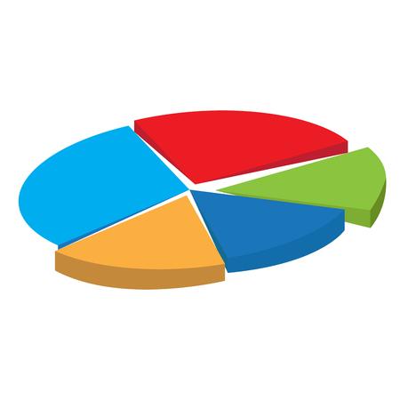 Wykres biznes na białym tle na białym tle, ilustracji wektorowych