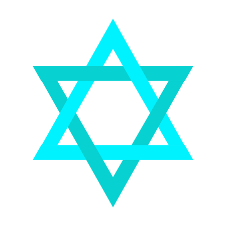 Isolated traditional blue jewish star, Vector illustration