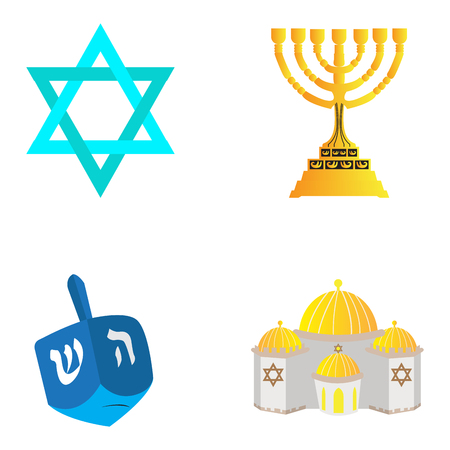 synagoge: Set of traditional jewish related objects, Vector illustration
