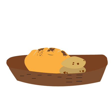 Isolated breads on a basket, Vector illustration