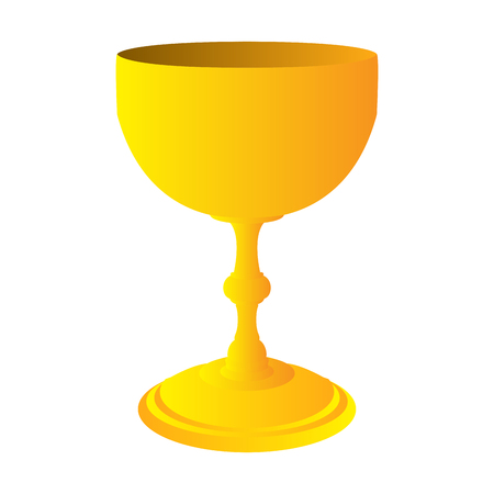 Isolated golden wine cup on a white background, Vector illustration