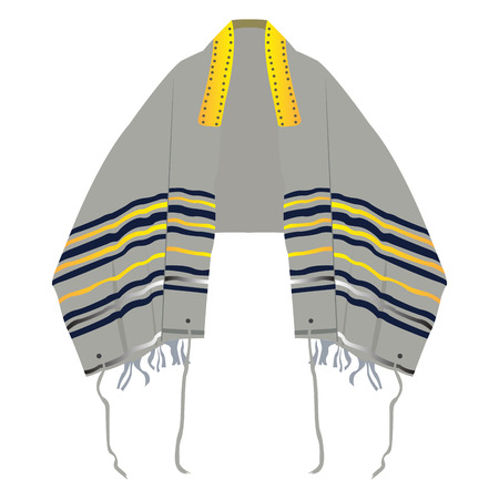 Isolated jewish tallit on a white background, Vector illustration