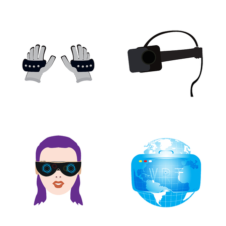 Set of different virtual reality gadgets and objects, Vector illustration