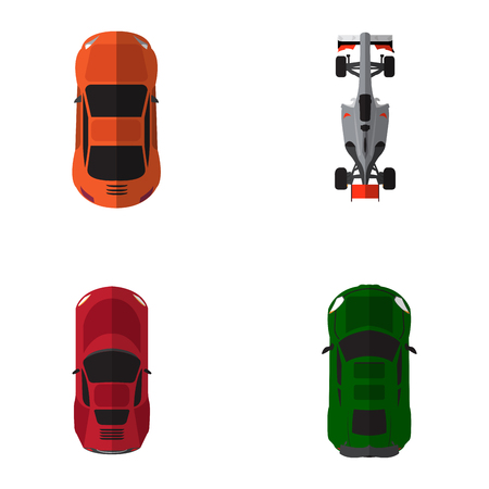 Set of top views of different cars, Vector illustration Illustration