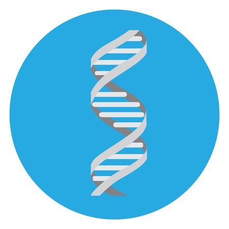 Aislado icono de adn en un botón azul, ilustración vectorial
