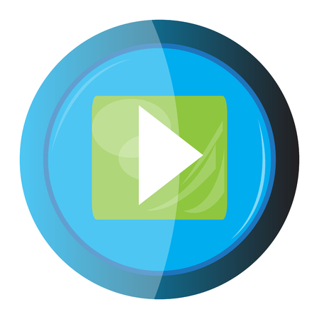 Isolated web button with a play symbol, Vector illustration