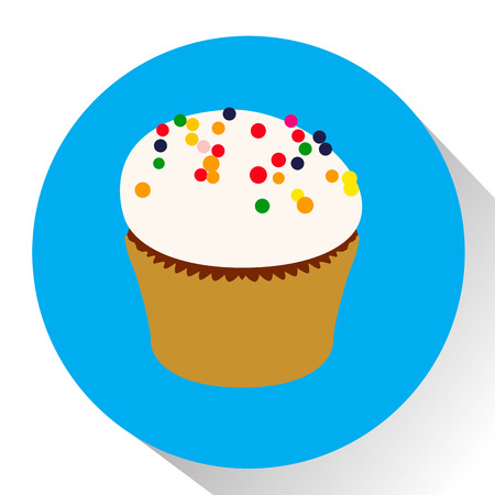 cupcake illustration: Isolated cupcake on a colored button, Vector illustration