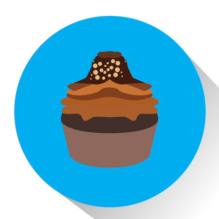 Isolated cupcake on a colored button, Vector illustration