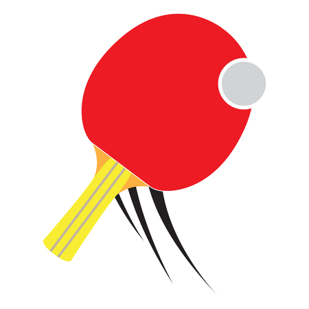 Isolated ping pong racket on a white background, Vector illustration Illustration