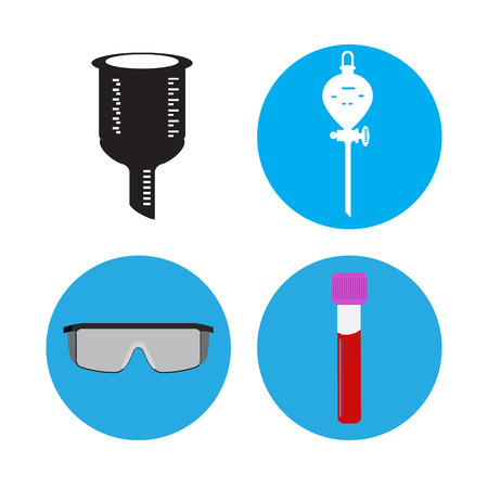 Set of science icons on buttons, Vector illustration
