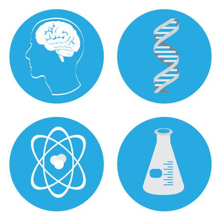 Conjunto de iconos de ciencia en botones, ilustración vectorial