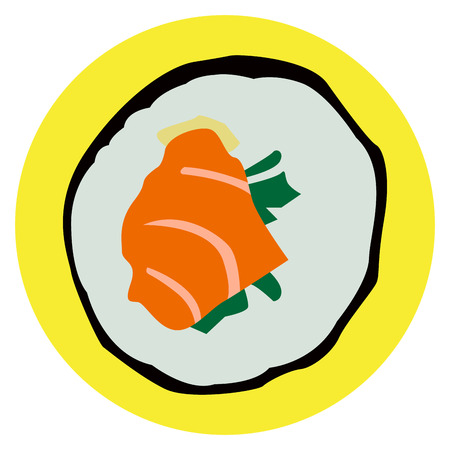 japanese cuisine: Isolated sushi roll on a colored button, Vector illustration