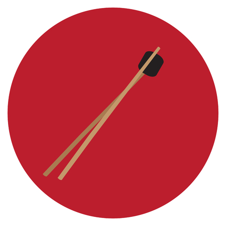 Isolated wooden chopsticks on a colored button, Vector illustration