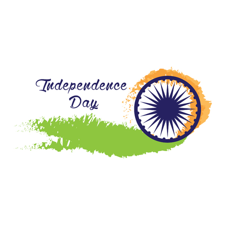 15: Happy indian independence day graphic design, Vector illustration Illustration
