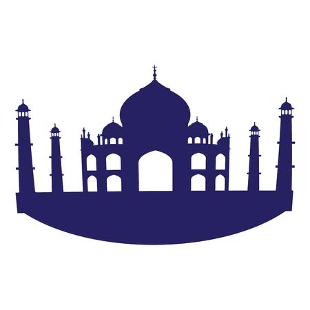 Isolated silhouette of Taj Mahal, Vector illustration