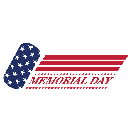 a memorial to fallen soldiers: Isolated memorial day emblem on a white background, Vector illustration