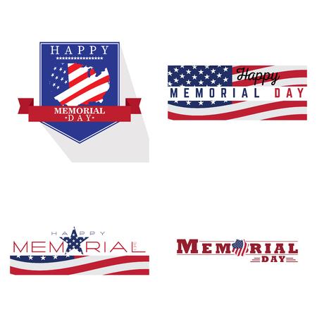 fallen: Set of memorial day emblems, Vector illustration Illustration