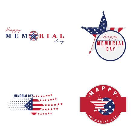 Set of memorial day emblems, Vector illustration Illustration