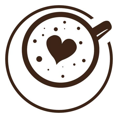 Het geïsoleerde abstracte embleem van de koffiemok, Vectorillustratie