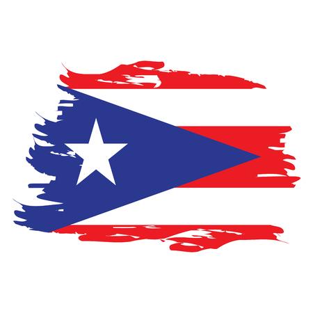 Grunge isolado texturizado bandeira de Puerto Rico, ilustração vetorial Foto de archivo - 79917959