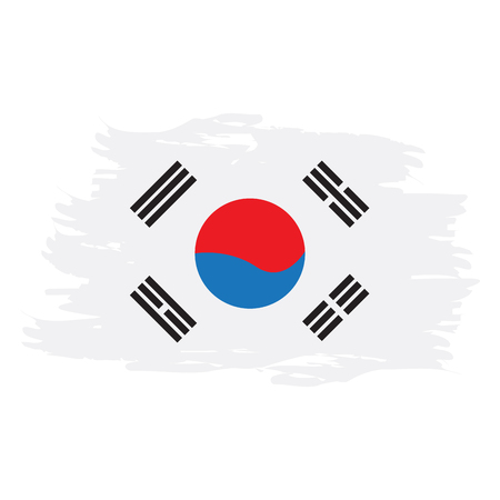 Isolated grunge textured South Korean flag, Vector illustration Illustration