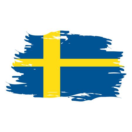 Isolated grunge textured Swedish flag, Vector illustration
