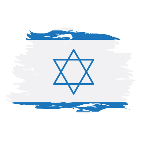israeli: Isolated grunge textured Israeli flag, Vector illustration