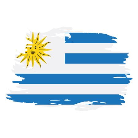 Isolated grunge textured Uruguayan flag, Vector illustration
