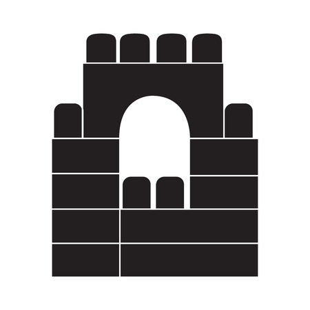Isolated built castle with building blocks, Vector illustration