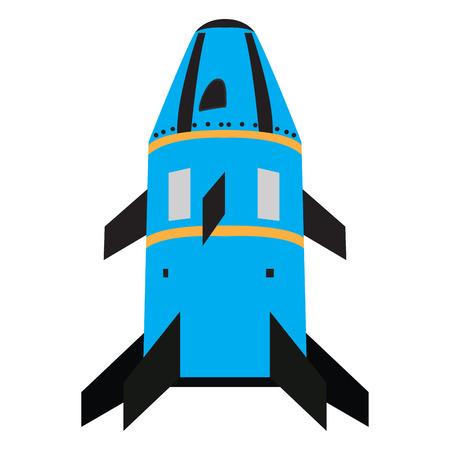 Isolated rocket toy on a white background, Vector illustration Illustration