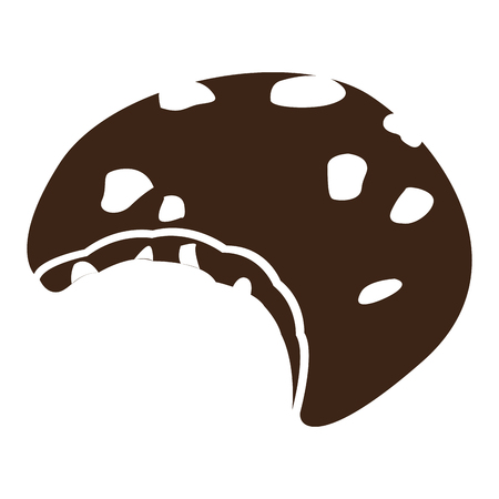 Isolated silhouette of a bitten cookie, Vector illustration