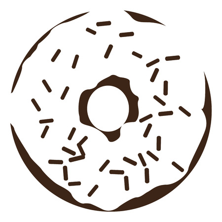 Isolated silhouette of a donut, Vector illustration