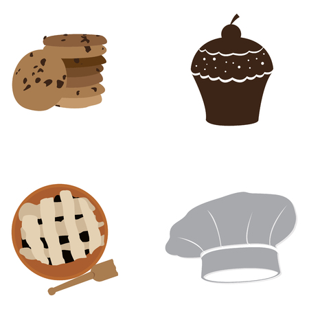 cupcakes isolated: Set of bakery icons on a white background, Vector illustration