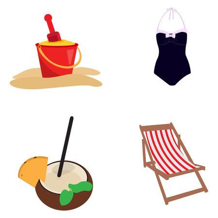 Set of summer icons on a white background, Vector illustration Illustration