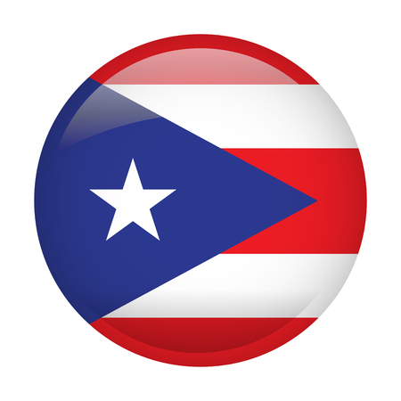 Isolated flag of Puerto Rico on a button, Vector illustration Illustration