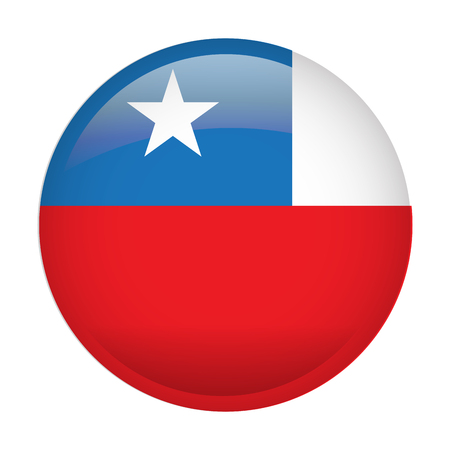 Isolated flag of Chile on a button, Vector illustration Vettoriali