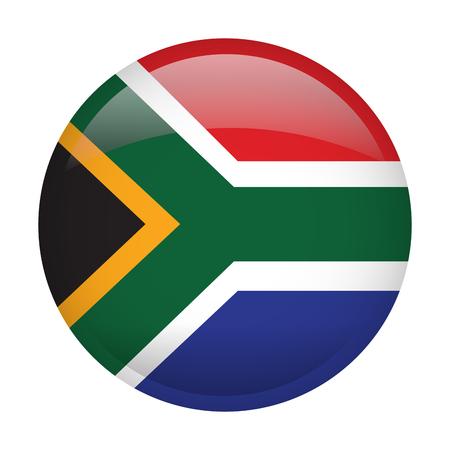 Bandiera isolata del Sudafrica su un bottone, illustrazione di vettore Archivio Fotografico - 81002887