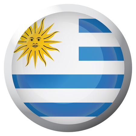Isolated flag of Uruguay on a button, Vector illustration