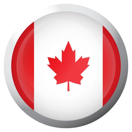 Drapeau isolé du Canada sur un bouton, illustration vectorielle Vecteurs