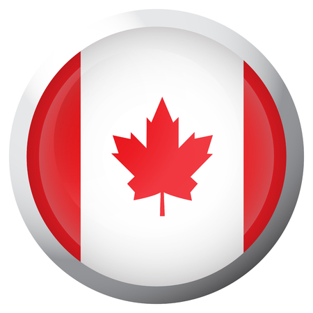 Isolated flag of Canada on a button, Vector illustration