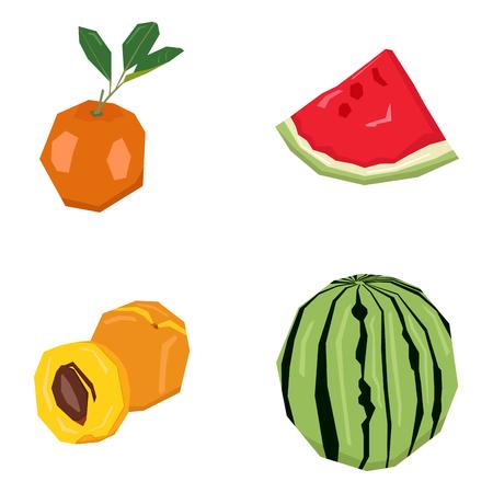 tangerine: Set of different geometric fruits, Vector illustration Illustration
