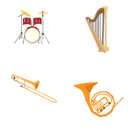 Set of geometric musical instruments, Vector illustration