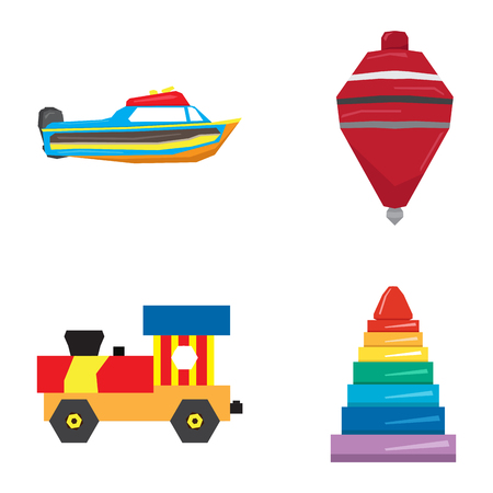 Set of geometric toys on a white background, Vector illustration Illustration