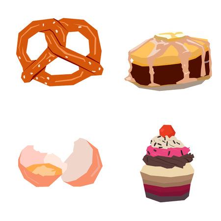 Set of geometric bakery icons, Vector illustration
