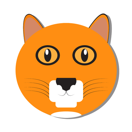 Isolated cute cat face on a white background, Vector illustration
