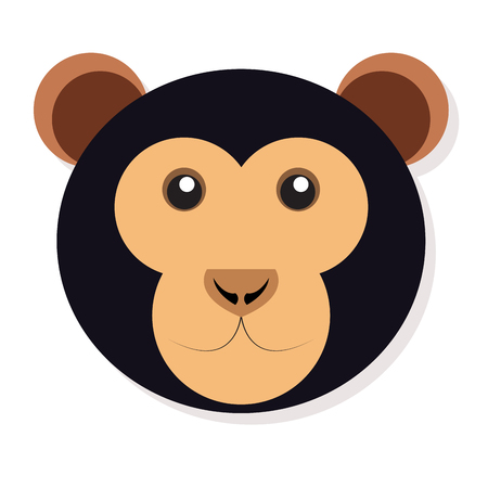 Isolated cute monkey face on a white background, Vector illustration
