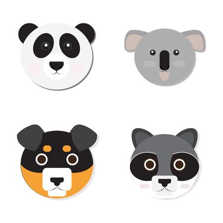 one panda: Set of cute animal faces, Vector illustration Illustration