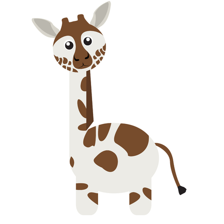 Isolated cute giraffe on a white background, Vector illustration