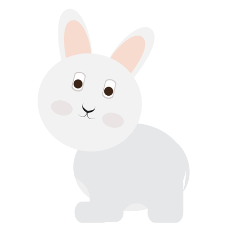 rabbit standing: Isolated cute rabbit on a white background, Vector illustration Illustration