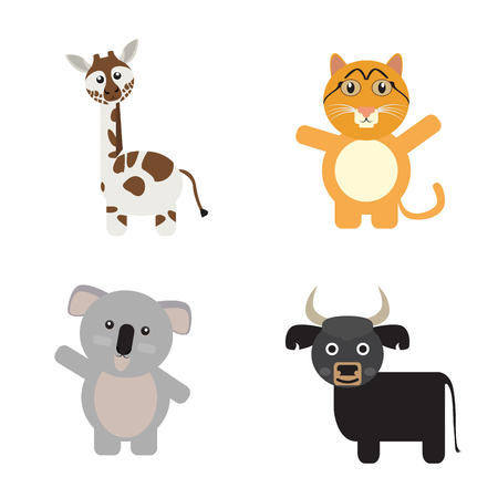 Set of cute animals on a white background, Vector illustration